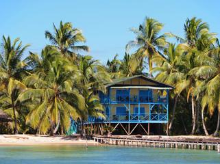 Blue hotel on the beach
