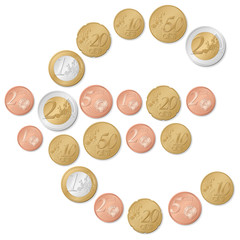 euro symbol of coins