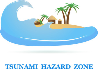 Tsunami Icon sign isolated on white