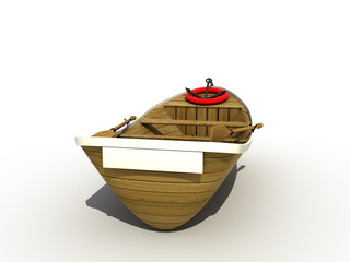 The wooden boat on a white background №5