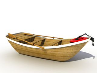 The wooden boat on a white background №4