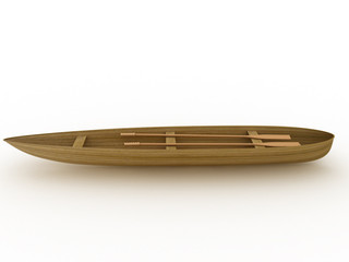 The wooden boat on a white background №3