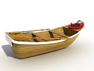The wooden boat on a white background №2