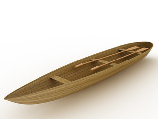 The wooden boat on a white background №1