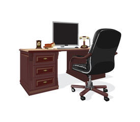 workstation with a leather armchair