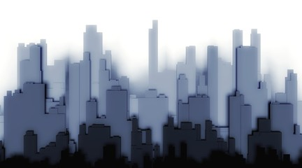 3d silhouette city on a white background