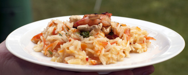 Asian basmati rice risotto with grilled prawns, coconut milk, ch
