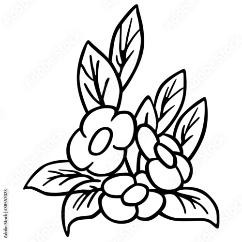 Flower Black And White Cartoon Illustration Stock Photo And