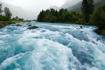 Printed kitchen splashbacks Forest river Glacier river