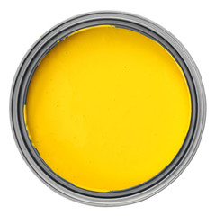 Can full of yellow paint isolated on white background, opened container photographed from above