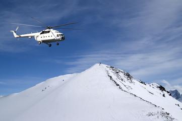Heliski in snowy mountains