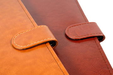 Brown leather organizers closeup