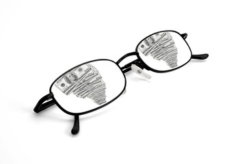 Reflection of Money in Glasses
