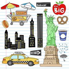 New York City Manhattan Notebook Doodles Vector