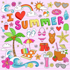 I Love Summer Vacation Notebook Doodles