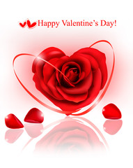 Valentine background. Red rose with red ribbons.
