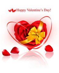 Valentine background. Red rose with gold ribbons.
