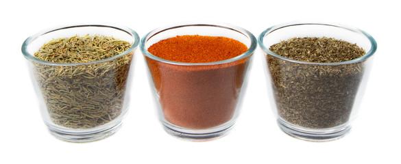 Three herbs in jars