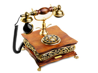 vintage phone made from wood and metal