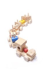 model wood train on white background