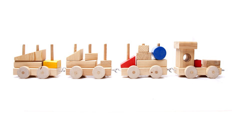 model wood train on white background