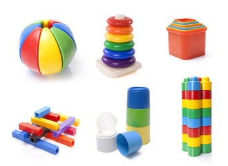 many colour kids toys on white background