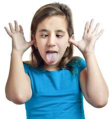Small girl making a funny face isolated on white