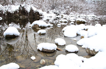 Winter stream reflection