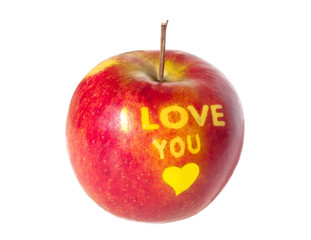 "Apple with an inscription ""I LOVE YOU"". Happy Valentine's Day."