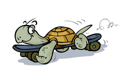 Cartoon Turtle on Skateboard.