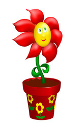 Happy flower in decorated pot