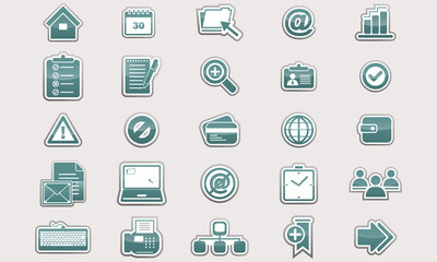 Set of glossy business icons.