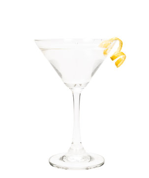 isolated martini with a lemon twist