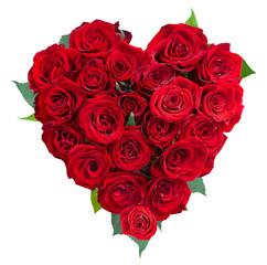 Rose Flowers Heart Over White. Valentine