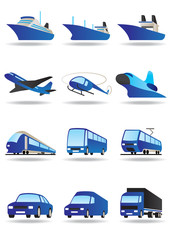 Road, sea and space transport icons set