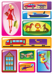 Different children's toys - vector illustration