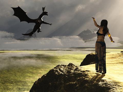 Fantasy female summoning dragon