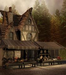 Średniowieczny sklep i targowisko