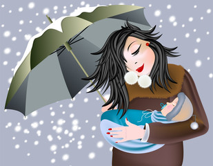 Mom and baby are with umbrella sheltering from snow