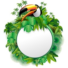 Tucano Sfondo Giungla-Toucan on Jungle Label Background-Vector