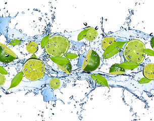 Fotorolgordijn Opspattend water Fresh limes in water splash,isolated on white background