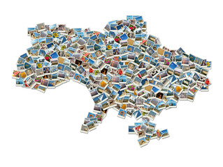 Map of Ukraine- collage made of travel photos with ukrainian lan