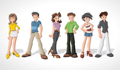 Group cartoon people. Teenagers.
