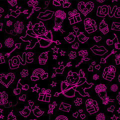 seamless patern with love doodles