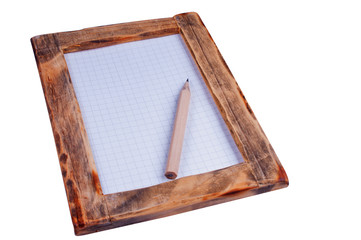 Wooden frame and pencil  clipping path