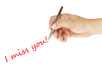 "human hand writing ""i miss you"" word"