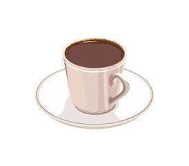 cup of coffee on a white saucer on a white background