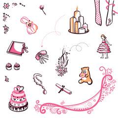 Wedding theme - a set of decorative illustrations on