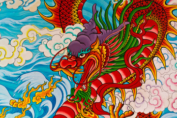 Red fire dragon painting in Chinese temple
