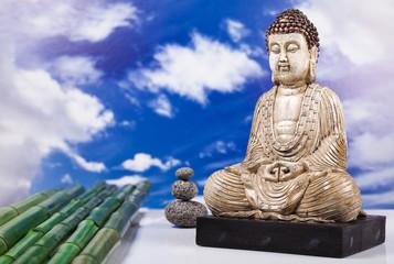 Buddha and blue sky background